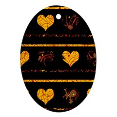 Yellow harts pattern Oval Ornament (Two Sides)