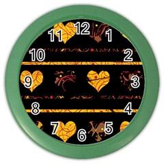 Yellow harts pattern Color Wall Clocks