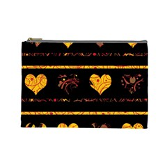 Yellow harts pattern Cosmetic Bag (Large)