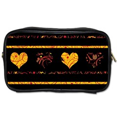 Yellow harts pattern Toiletries Bags 2-Side
