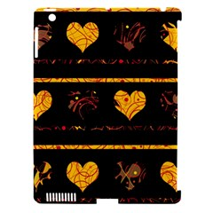 Yellow harts pattern Apple iPad 3/4 Hardshell Case (Compatible with Smart Cover)