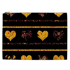 Yellow harts pattern Cosmetic Bag (XXL)