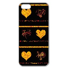 Yellow harts pattern Apple Seamless iPhone 5 Case (Clear)