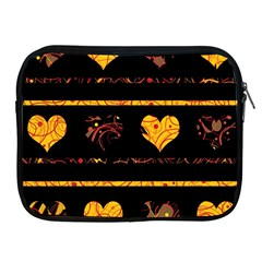 Yellow harts pattern Apple iPad 2/3/4 Zipper Cases
