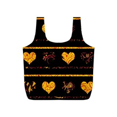Yellow harts pattern Full Print Recycle Bags (S)