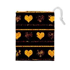Yellow harts pattern Drawstring Pouches (Large)