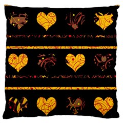 Yellow harts pattern Standard Flano Cushion Case (Two Sides)
