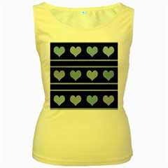 Blue harts pattern Women s Yellow Tank Top