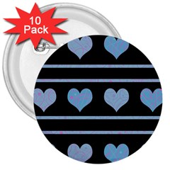 Blue harts pattern 3  Buttons (10 pack)
