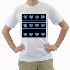 Blue harts pattern Men s T-Shirt (White) (Two Sided)