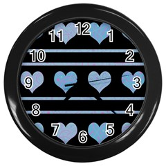 Blue harts pattern Wall Clocks (Black)