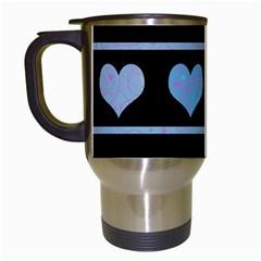 Blue harts pattern Travel Mugs (White)