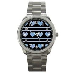 Blue harts pattern Sport Metal Watch
