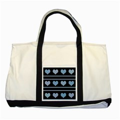 Blue harts pattern Two Tone Tote Bag