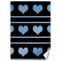Blue harts pattern Canvas 12  x 18