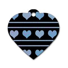 Blue harts pattern Dog Tag Heart (One Side)