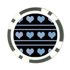 Blue harts pattern Poker Chip Card Guards