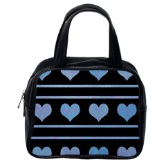 Blue harts pattern Classic Handbags (One Side)