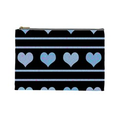 Blue harts pattern Cosmetic Bag (Large)