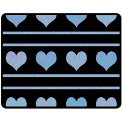 Blue harts pattern Fleece Blanket (Medium)
