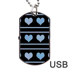 Blue harts pattern Dog Tag USB Flash (Two Sides)