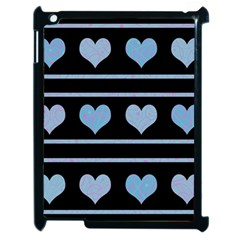 Blue harts pattern Apple iPad 2 Case (Black)