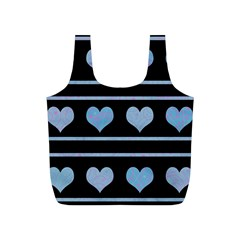 Blue harts pattern Full Print Recycle Bags (S)