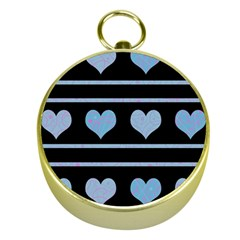 Blue harts pattern Gold Compasses