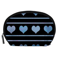 Blue harts pattern Accessory Pouches (Large)
