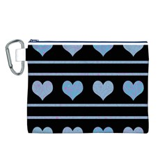 Blue harts pattern Canvas Cosmetic Bag (L)