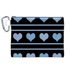 Blue harts pattern Canvas Cosmetic Bag (XL)