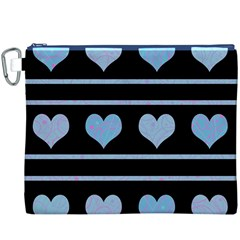Blue harts pattern Canvas Cosmetic Bag (XXXL)