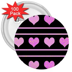 Pink harts pattern 3  Buttons (100 pack)