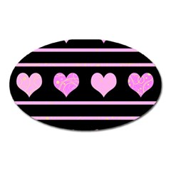 Pink harts pattern Oval Magnet