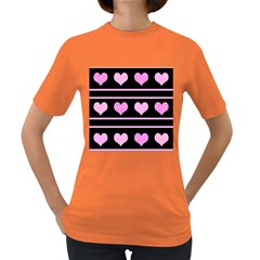 Pink harts pattern Women s Dark T-Shirt