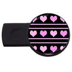 Pink harts pattern USB Flash Drive Round (4 GB)