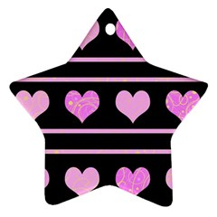 Pink Harts Pattern Star Ornament (two Sides)