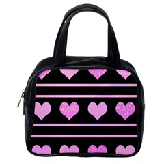 Pink harts pattern Classic Handbags (One Side)