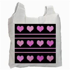 Pink harts pattern Recycle Bag (One Side)