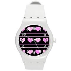 Pink harts pattern Round Plastic Sport Watch (M)