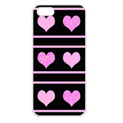 Pink harts pattern Apple iPhone 5 Seamless Case (White)