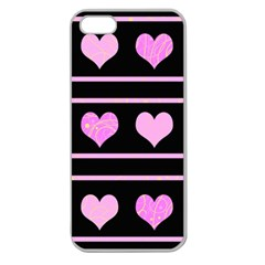 Pink harts pattern Apple Seamless iPhone 5 Case (Clear)