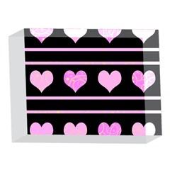 Pink harts pattern 5 x 7  Acrylic Photo Blocks