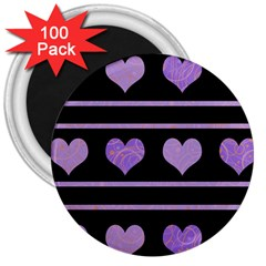 Purple harts pattern 3  Magnets (100 pack)