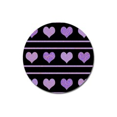 Purple harts pattern Magnet 3  (Round)