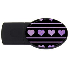 Purple harts pattern USB Flash Drive Oval (1 GB)