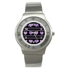 Purple harts pattern Stainless Steel Watch