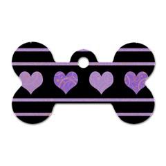 Purple harts pattern Dog Tag Bone (One Side)