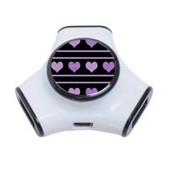 Purple harts pattern 3-Port USB Hub