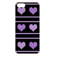 Purple harts pattern Apple iPhone 5 Seamless Case (White)